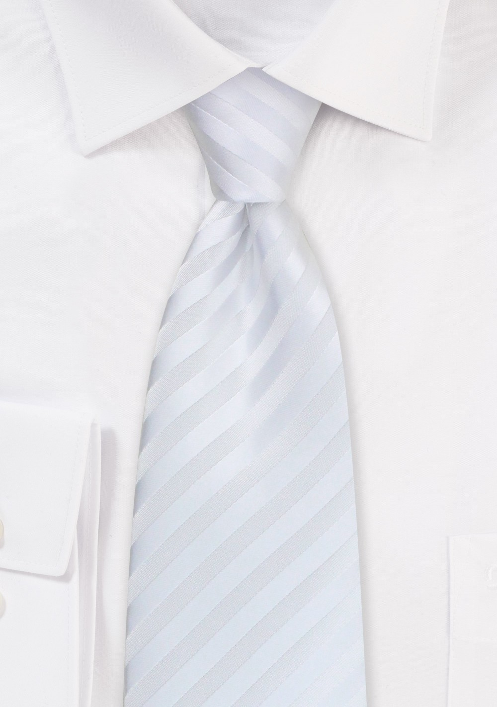 Extra long white tie - White necktie made from stain-resistant microfiber