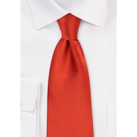 Dark Orange Necktie in Extra Long Length