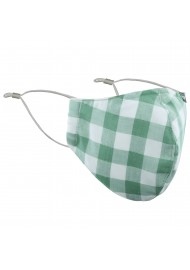 Tea Green Gingham Check Mask