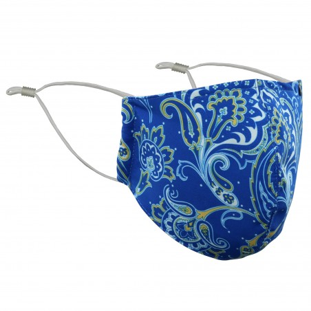 Elegant Paisley Print Mask in Navy