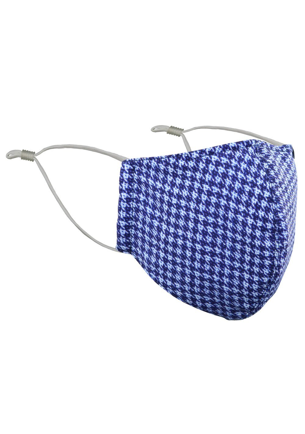 Fine Houndstooth Check Mask in Navy