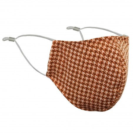 Fine Houndstooth Check Mask in Red