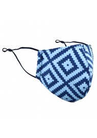 Geometric Argyle Check Mask in Light Blue