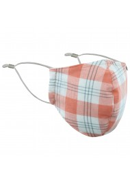 Peach and White Tartan Plaid Mask