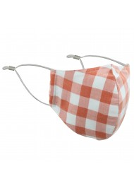 Peach Orange Gingham Check Mask