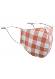 Peach Orange Gingham Check Mask