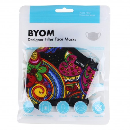 Kids Filter Mask in Colorful Floral Paisley Print in Mask Bag