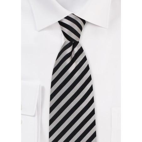 champagne and black striped silk mens neck tie