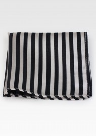 Striped pocket square in black and champagne in pure silk
