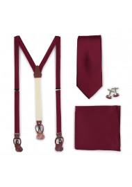 Wedding Suspender and Necktie Set in Wine Red