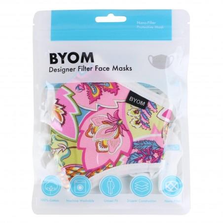 Pink Paisley Summer Kids Face Mask in Mask Bag