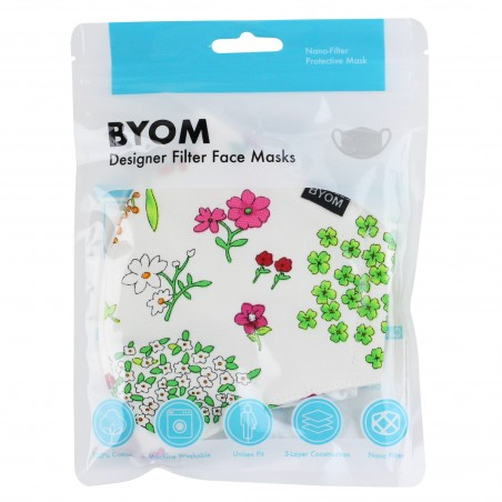 Spring Flower Print Cotton Mask in Mask Bag