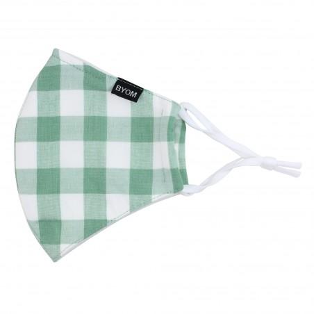 Tea Green Gingham Check Mask