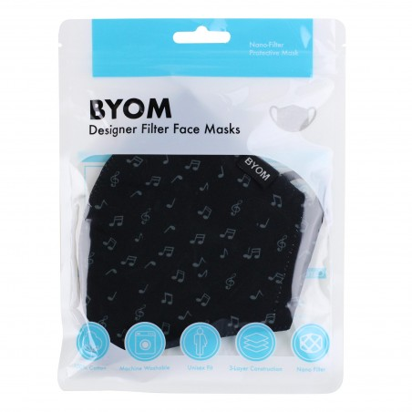 Black Mask with Music Notes in Mask Bag