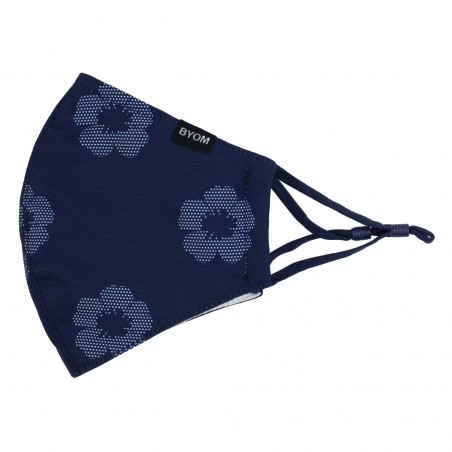 Unique Floral Print Mask in Midnight Blue