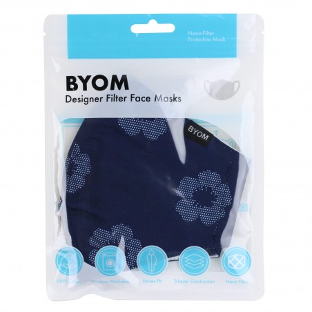 Unique Floral Print Mask in Midnight Blue in Mask Bag