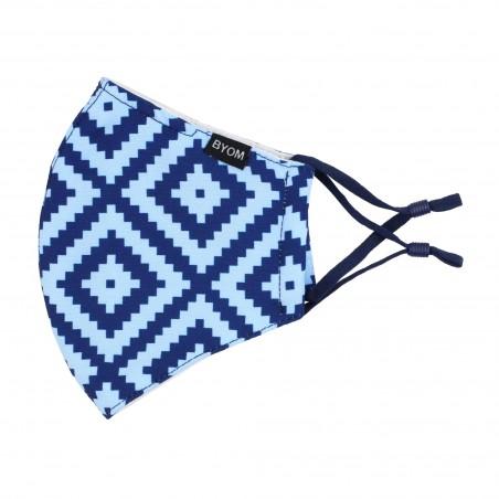 Geometric Argyle Check Mask in Light Blue