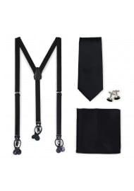 Formal Tie and Dress Suspender Set in Jet Black