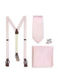 Blush Suspender and Necktie Wedding Gift Set
