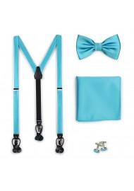 Bold Aqua Bow Tie and Suspender Set