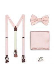 Peach Blush Wedding Suspender and Bow Tie Set