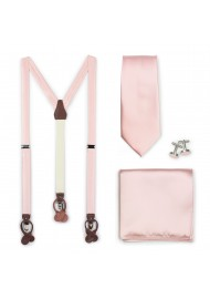 Suspender and Tie Set in Peach Blush