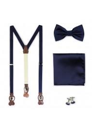 Navy Suspender and Bowtie Set