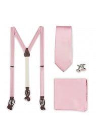Petal Pink Fabric Suspender and Tie Set