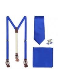 Marine Blue Suspenders and Necktie Set