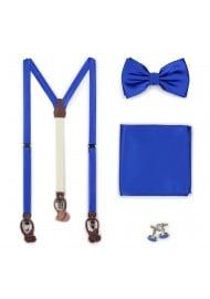 Marine Blue Suspender Bowtie Set