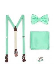 Mint Hued Suspender Bow Tie Set