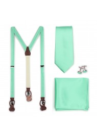 Shiny Mint Colored Suspender and Necktie Combo Set