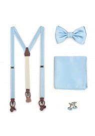 Suspender Bow Tie Set in Powder Blue