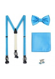 Cyan Blue Suspenders and Bow Tie Set
