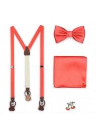 Neon Coral Suspender Bow Tie Set