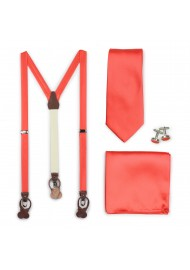 Neon Coral Necktie and Suspender Combo Set