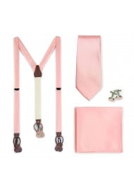 Candy Pink Suspender and Tie Set