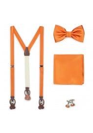 Persimmon Orange bow Tie and suspender set