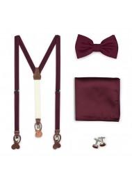 Suspender Bowtie Set in Plum