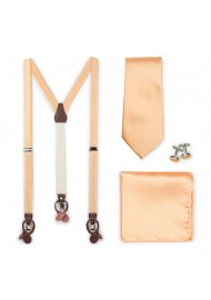 Peach Apricot Suspender Necktie Set