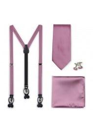Wedding Suspender and Necktie Set in Rose