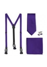 Regency Purple Suspender Mens Necktie Set