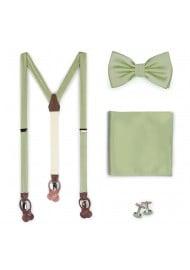 Suspender Bowtie Set in Sage Green