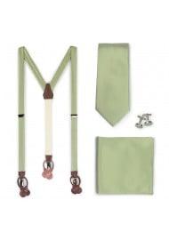 Suspender and Necktie Set in Sage Green