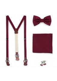 Wine Red Satin Suspender BowTie Set