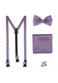 Wisteria Satin Suspender BowTie Set