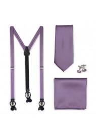 Suspender Tie Set in Wisteria