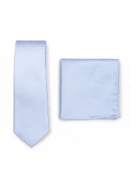 Narrow Pin Dot Tie and Hanky Set in Baby Blue