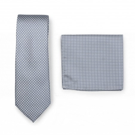 Shadow Gray Pin Dot Tie and Hanky Set