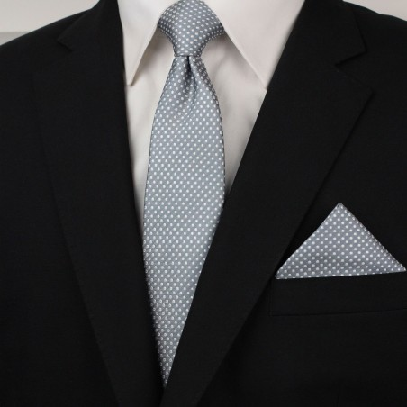 Shadow Gray Pin Dot Tie and Hanky Set Styled